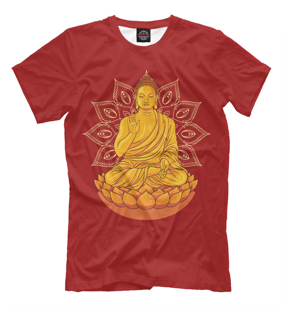 Купить Золотой Будда на лотосе с мандалой, Printbar, Футболки, PSY-619583-fut-2