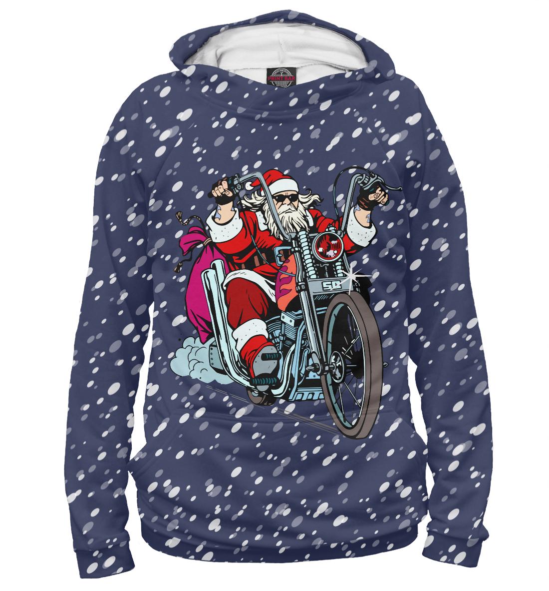 Купить Санта Клаус байкер, Printbar, Худи, NOV-248863-hud-1