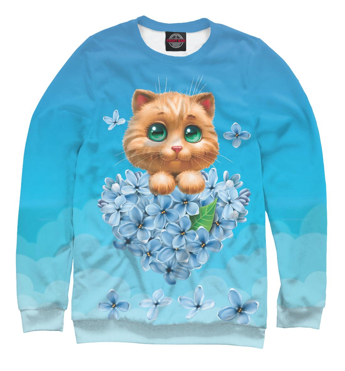 Купить Котенок и сердце из цветов, Printbar, Свитшоты, CAT-880225-swi-1