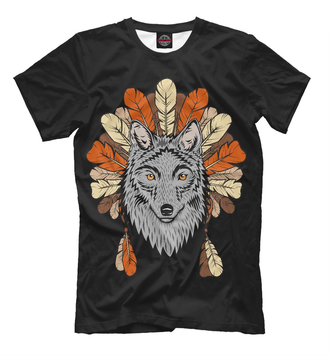 Купить Волк индеец, Printbar, Футболки, VLF-582521-fut-2
