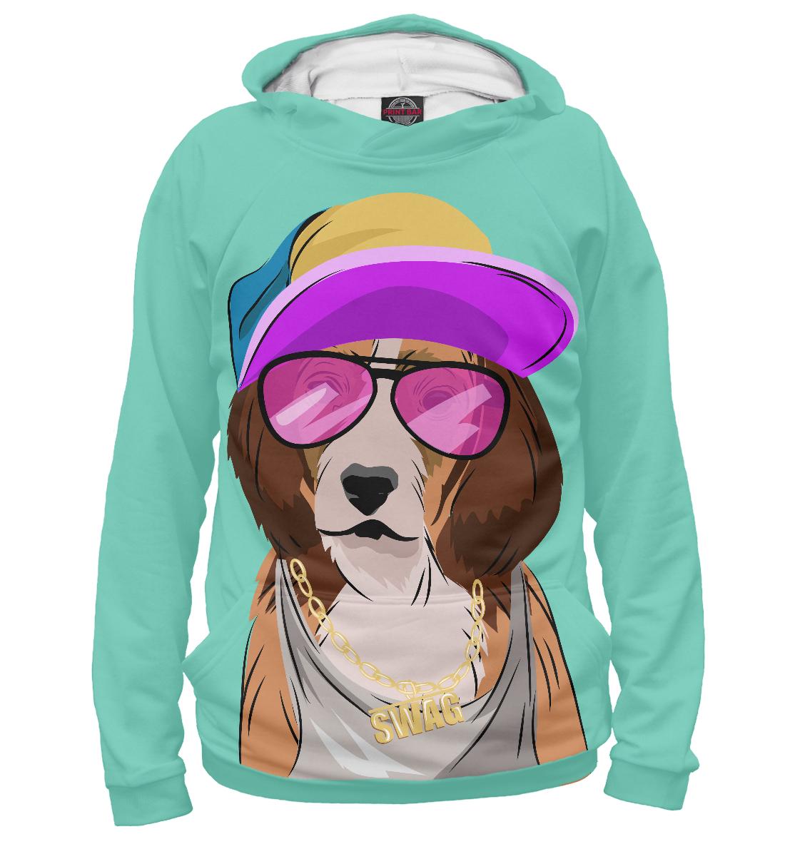 Купить Собака, одетая в стиле хип-хоп, Printbar, Худи, HIP-599382-hud-1