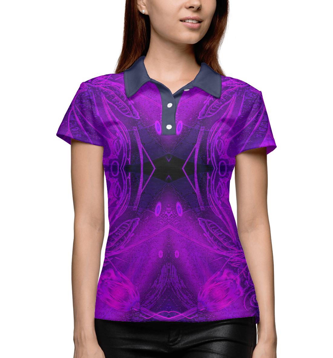 Купить Абстракция фиолетовая, Printbar, Поло, ABS-254887-pol-1