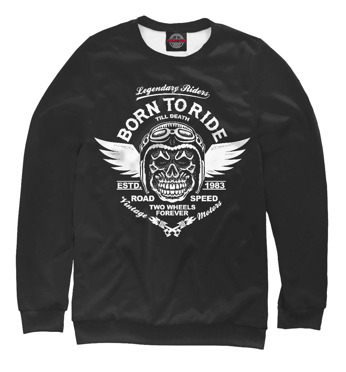 Купить Born To Ride Till Death, Printbar, Свитшоты, SKU-642927-swi-2