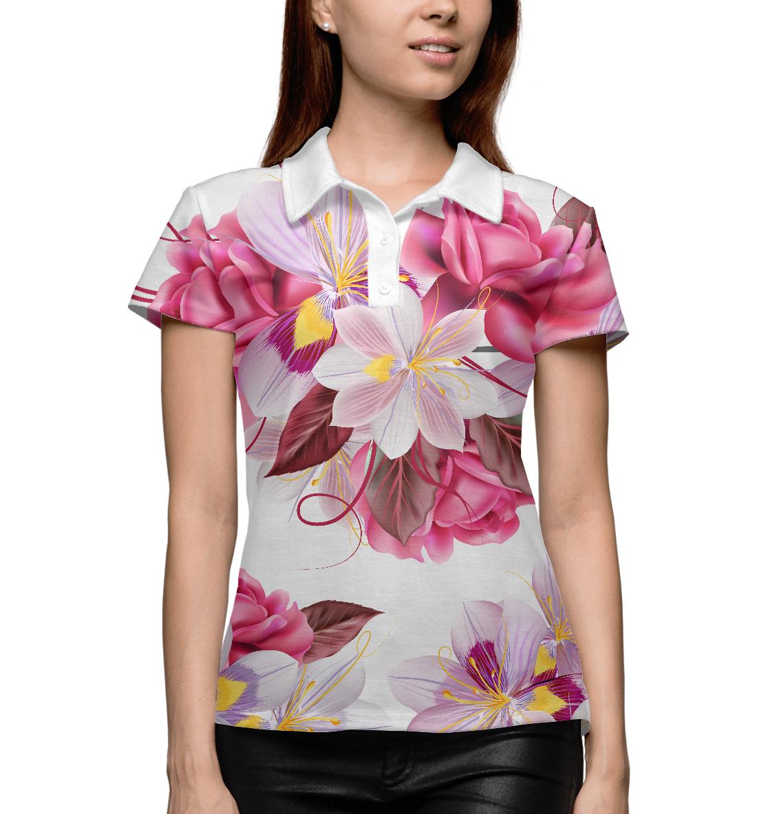 Купить Прекрасные цветы, Printbar, Поло, CVE-210208-pol-1