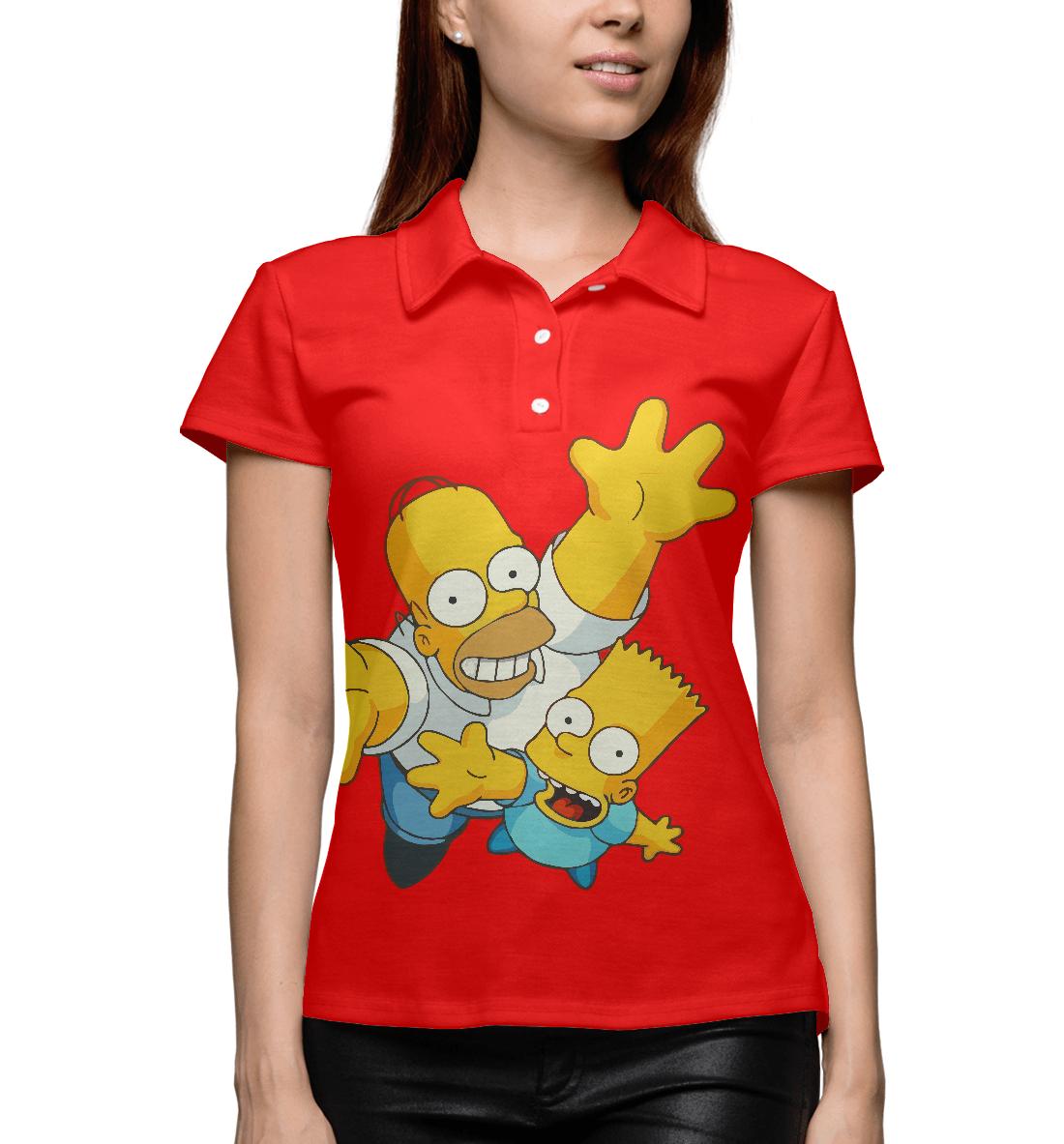 Купить Барт и Гомер Симпсоны, Printbar, Поло, SIM-470839-pol-1