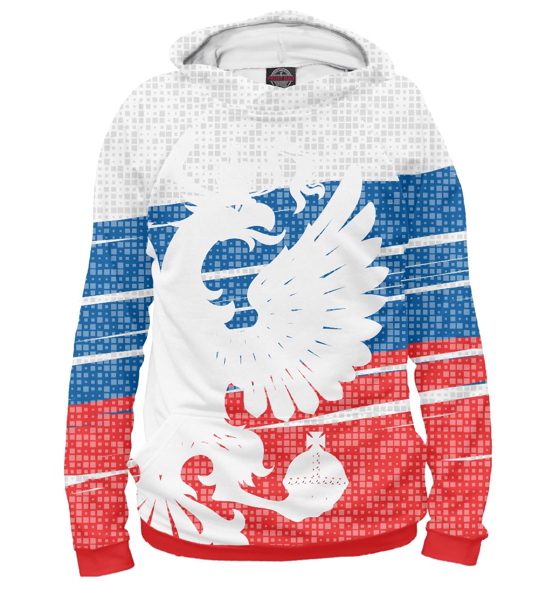 Купить Герб России белый на фоне флага, Printbar, Худи, SRF-792146-hud-2