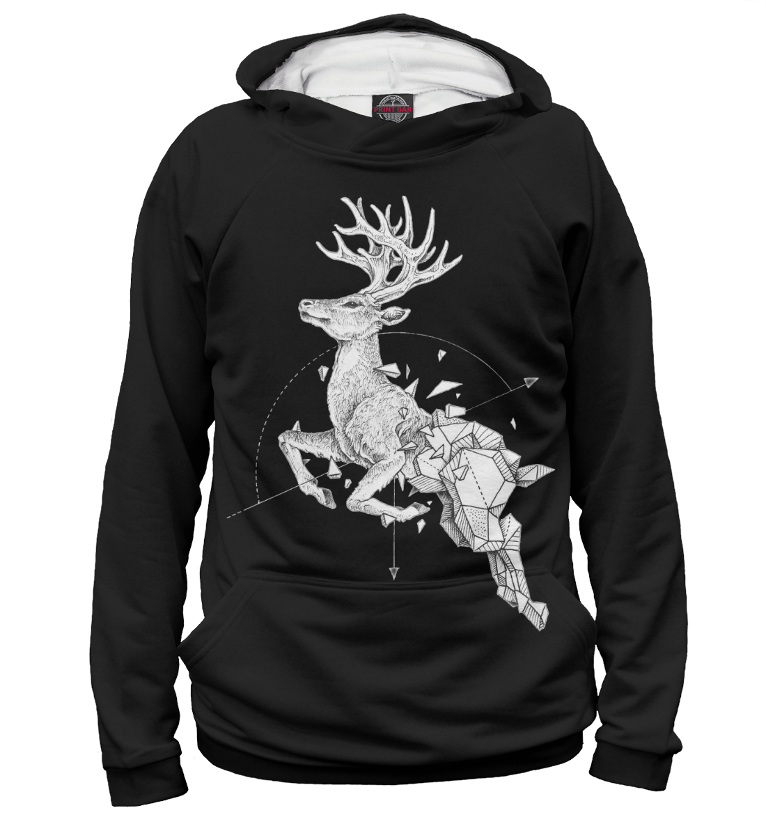 Купить Geometric dark deer, Printbar, Худи, HIP-944051-hud-2
