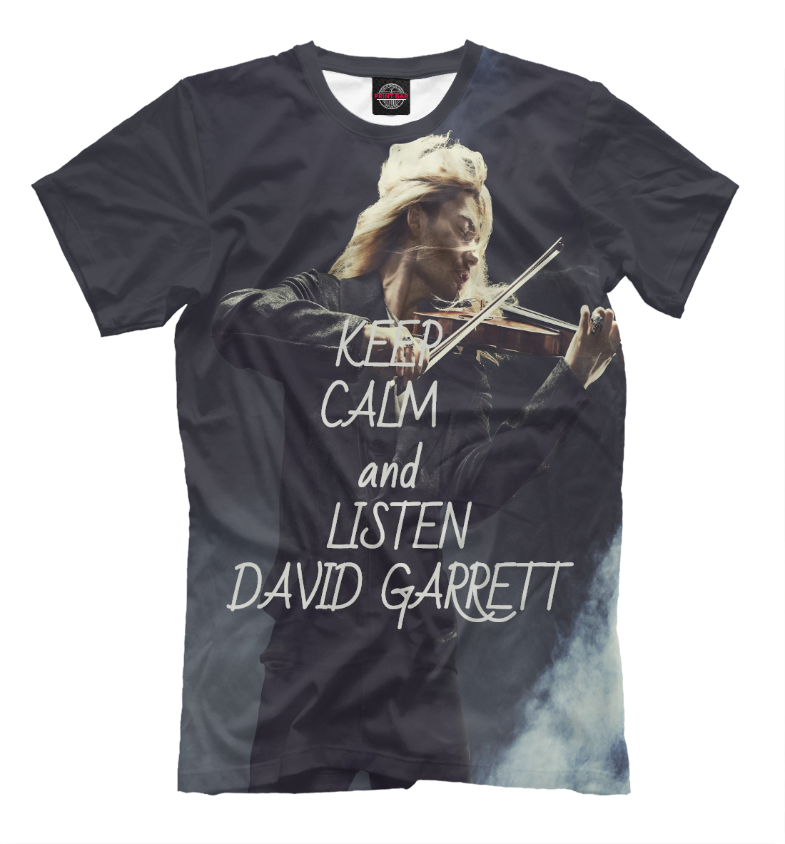 Купить Keep calm and listen David Garrett, Printbar, Футболки, MZK-183982-fut-2