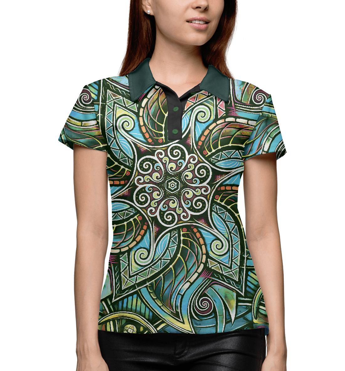 Купить Мандала Защитный Спиральный Цветок, Printbar, Поло, PSY-372574-pol-1