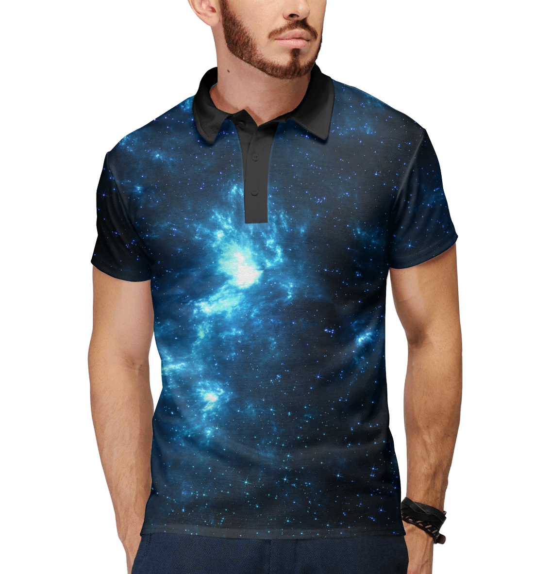 Купить Синий космос, Printbar, Поло, HIP-150790-pol-2