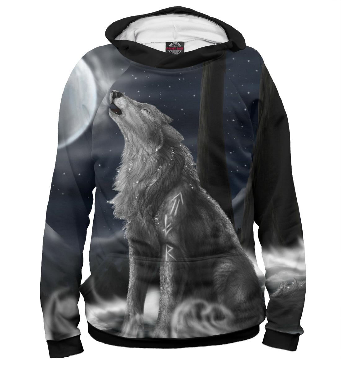 Купить Волк с рунами, Printbar, Худи, VLF-262421-hud-2