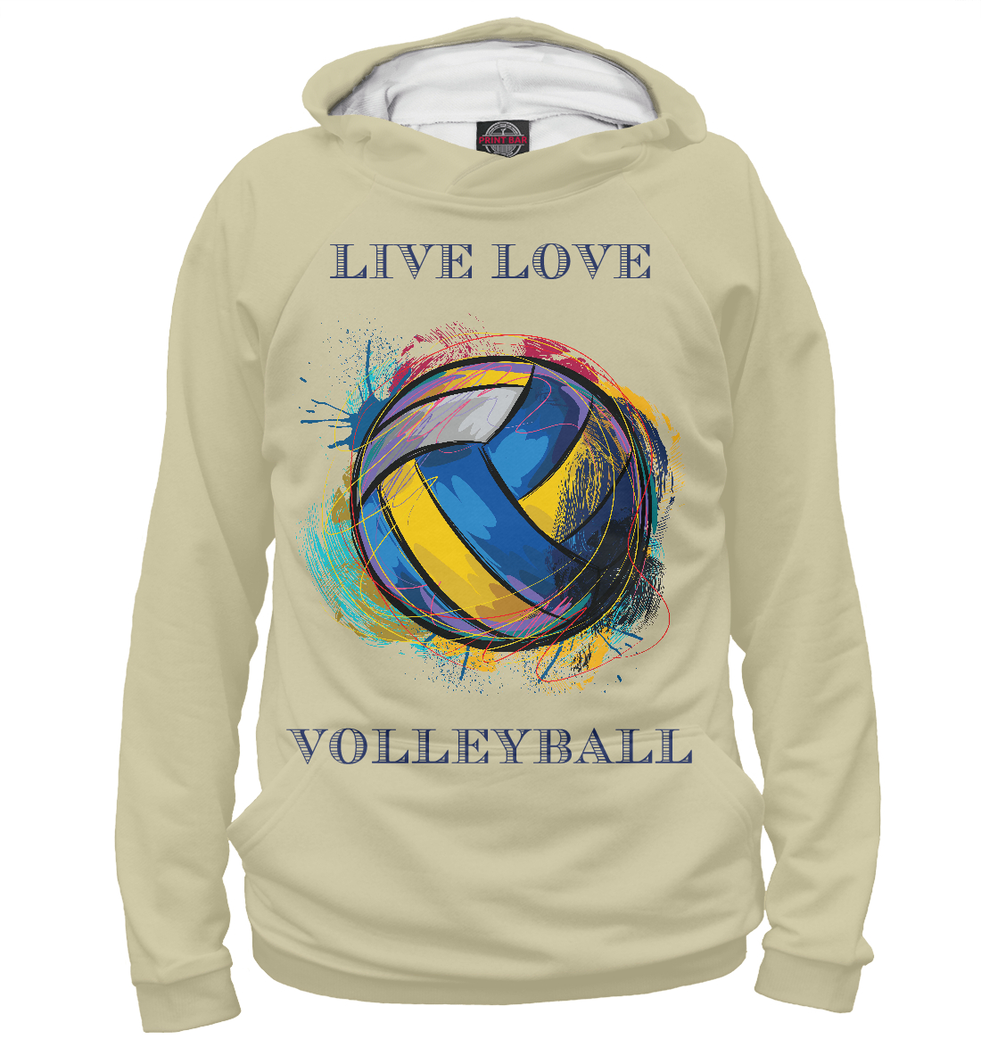 Купить LIVE LOVE VOLLEYBALL, Printbar, Худи, VLB-972366-hud-1