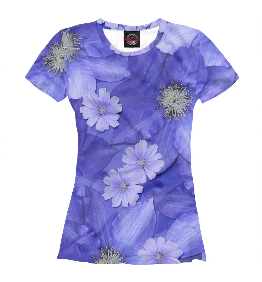 Купить Синие цветы, Printbar, Футболки, CVE-874757-fut-1