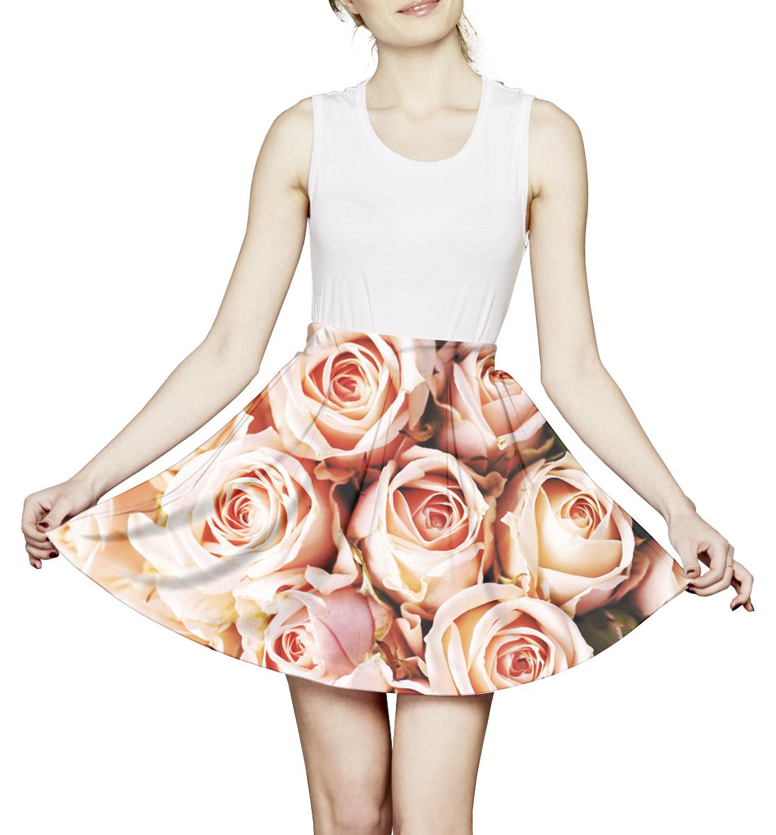 Купить Розы, Printbar, Юбка с мелкими складками, LGN-647998-ums-1
