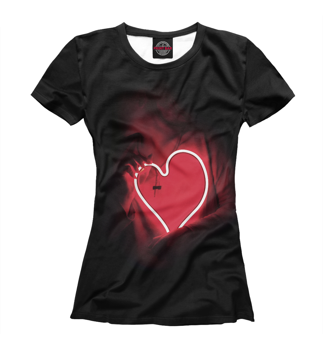 Купить Девушка с неоновым сердцем, Printbar, Футболки, SRD-833167-fut-1