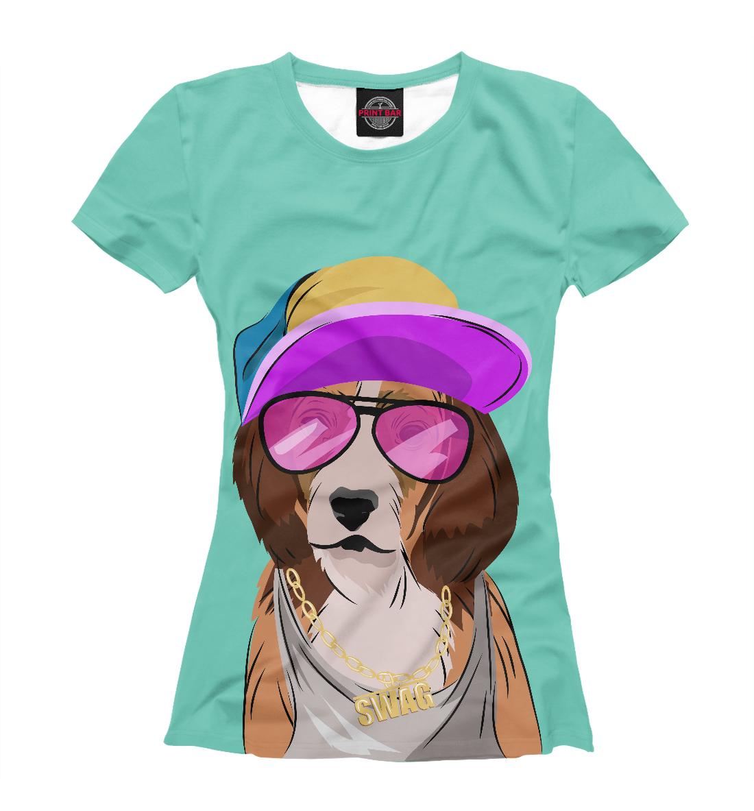 Купить Собака, одетая в стиле хип-хоп, Printbar, Футболки, HIP-599382-fut-1