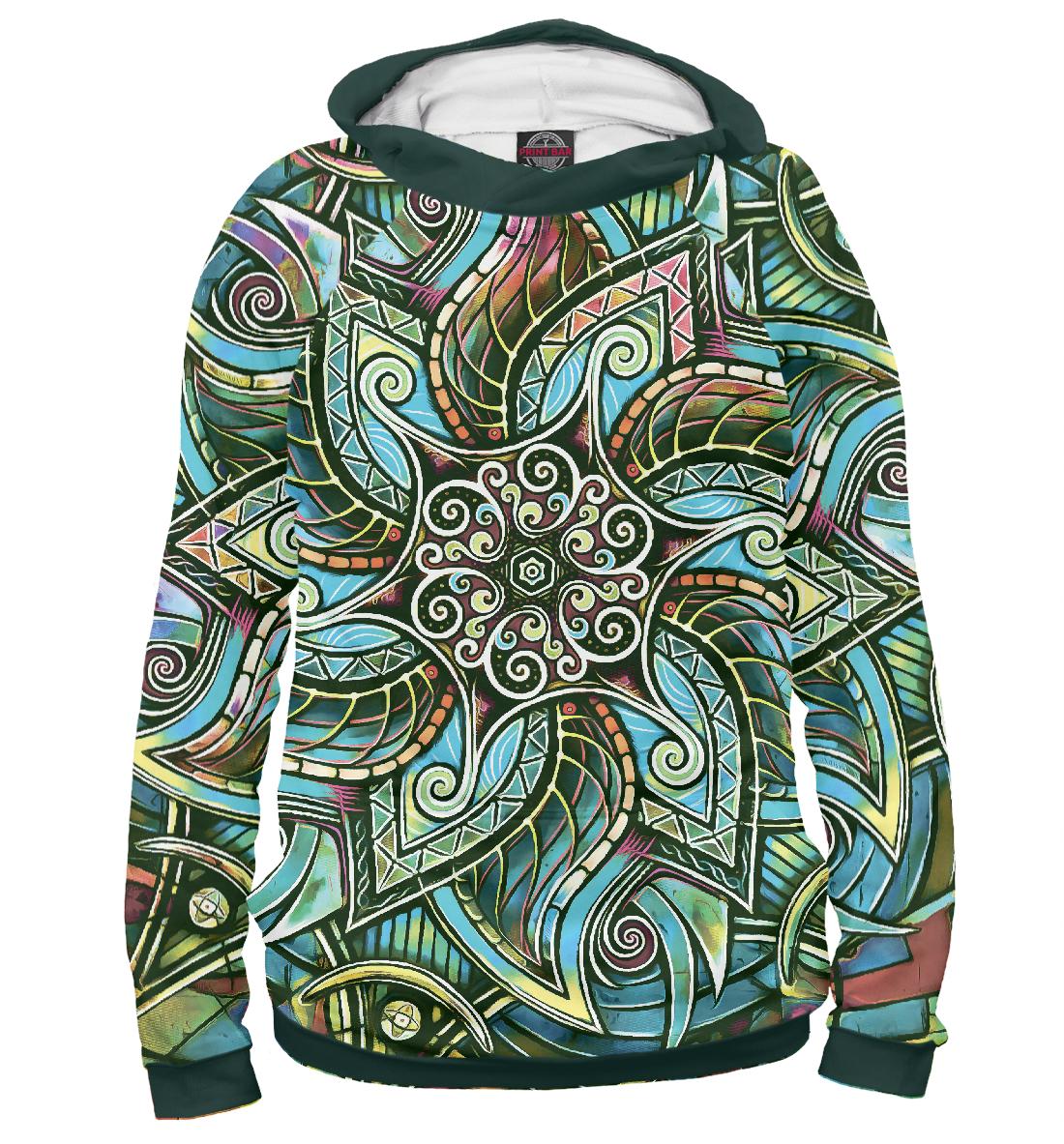 Купить Мандала Защитный Спиральный Цветок, Printbar, Худи, PSY-372574-hud-2