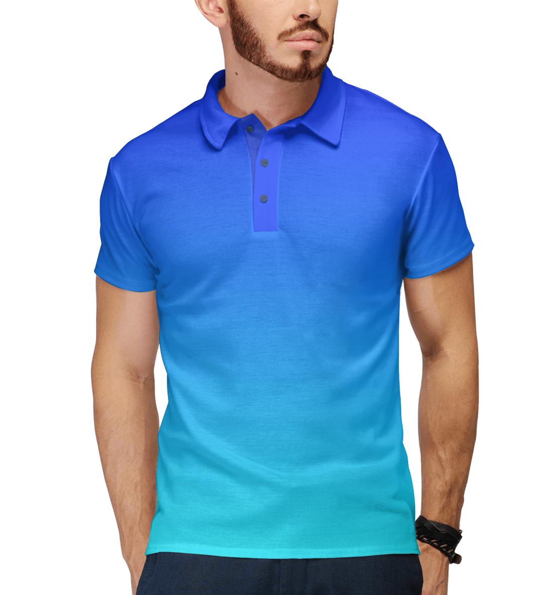 Купить Градиент: Синий в Голубой, Printbar, Поло, CLR-742572-pol-2