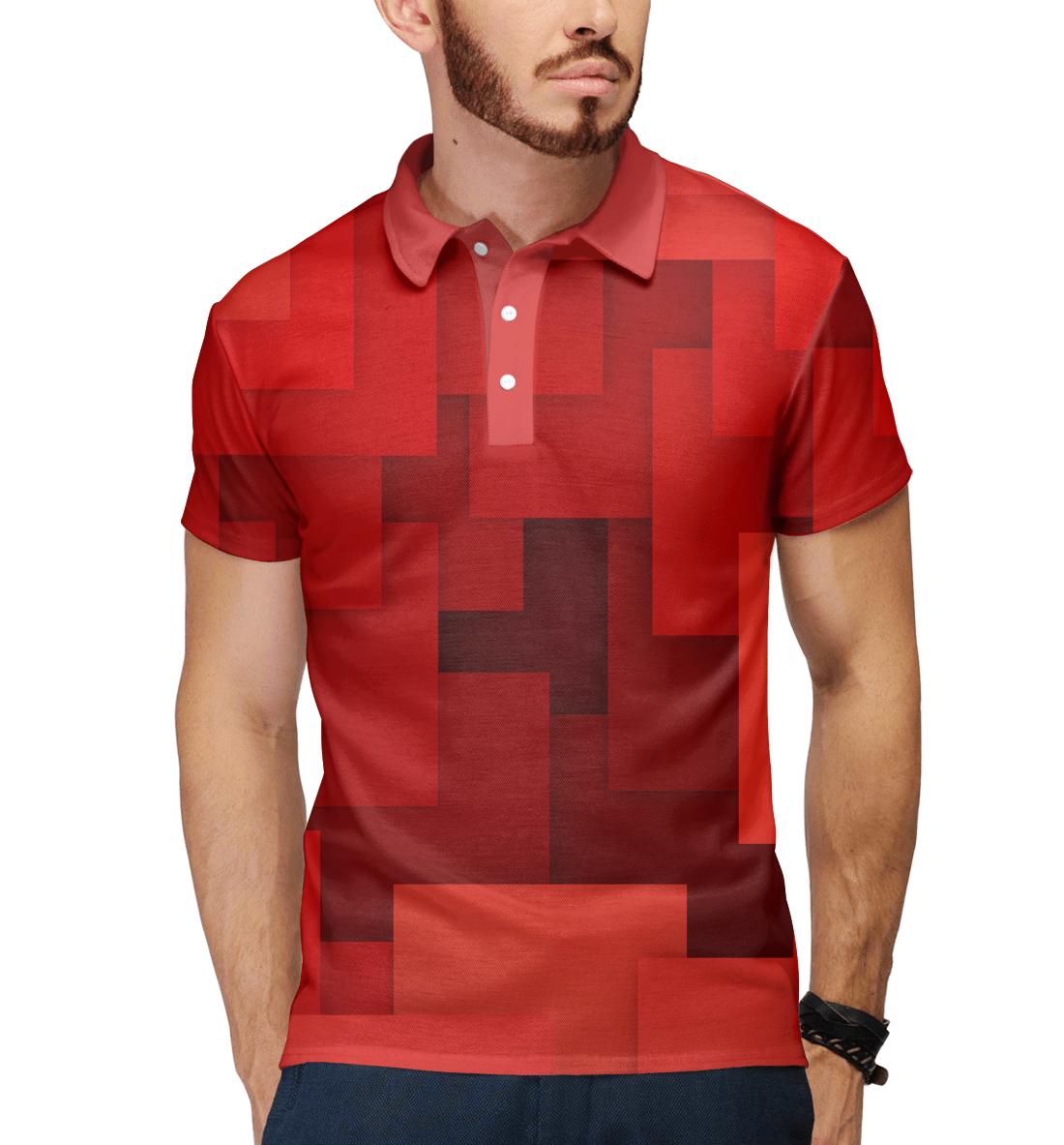 Купить Красная геометрия, Printbar, Поло, GEO-145270-pol-2