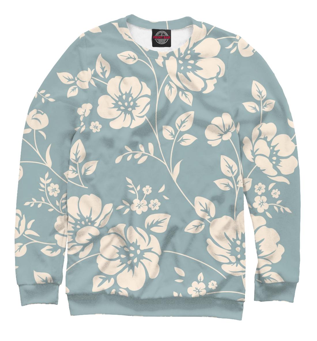 Купить Бежевые цветы на синем фоне, Printbar, Свитшоты, CVE-263117-swi-2