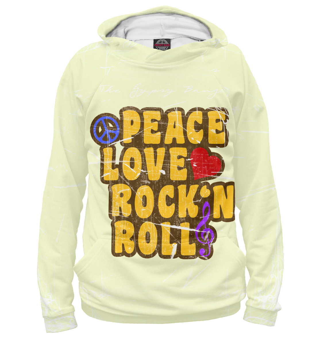 Купить Peace, Love, Rock*n roll, Printbar, Худи, APD-127416-hud-2