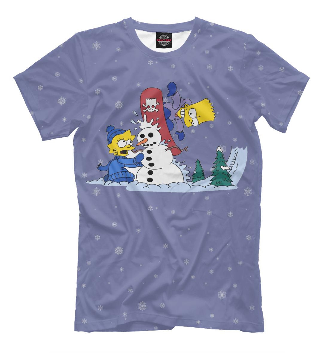 Купить Лиза и Барт Зимой, Printbar, Футболки, NOV-457537-fut-2