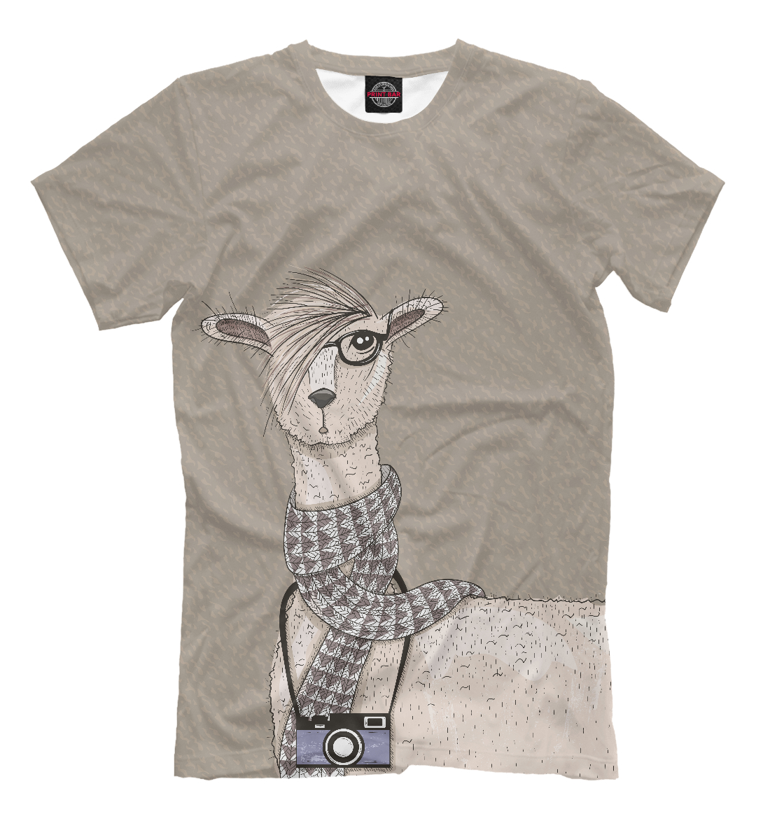 Купить Симпатичная лама с фотоаппаратом, Printbar, Футболки, HIP-305696-fut-2