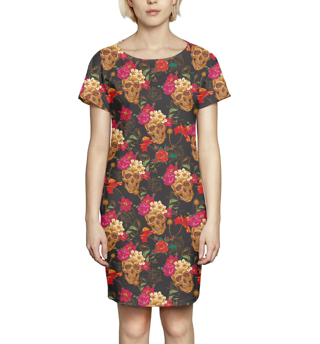 Купить Черепа и цветы, Printbar, Платье летнее, NWT-466675-pkr-1