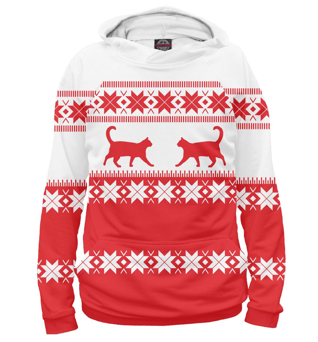 Купить Зимний свитер с котами, Printbar, Худи, CAT-395386-hud-2