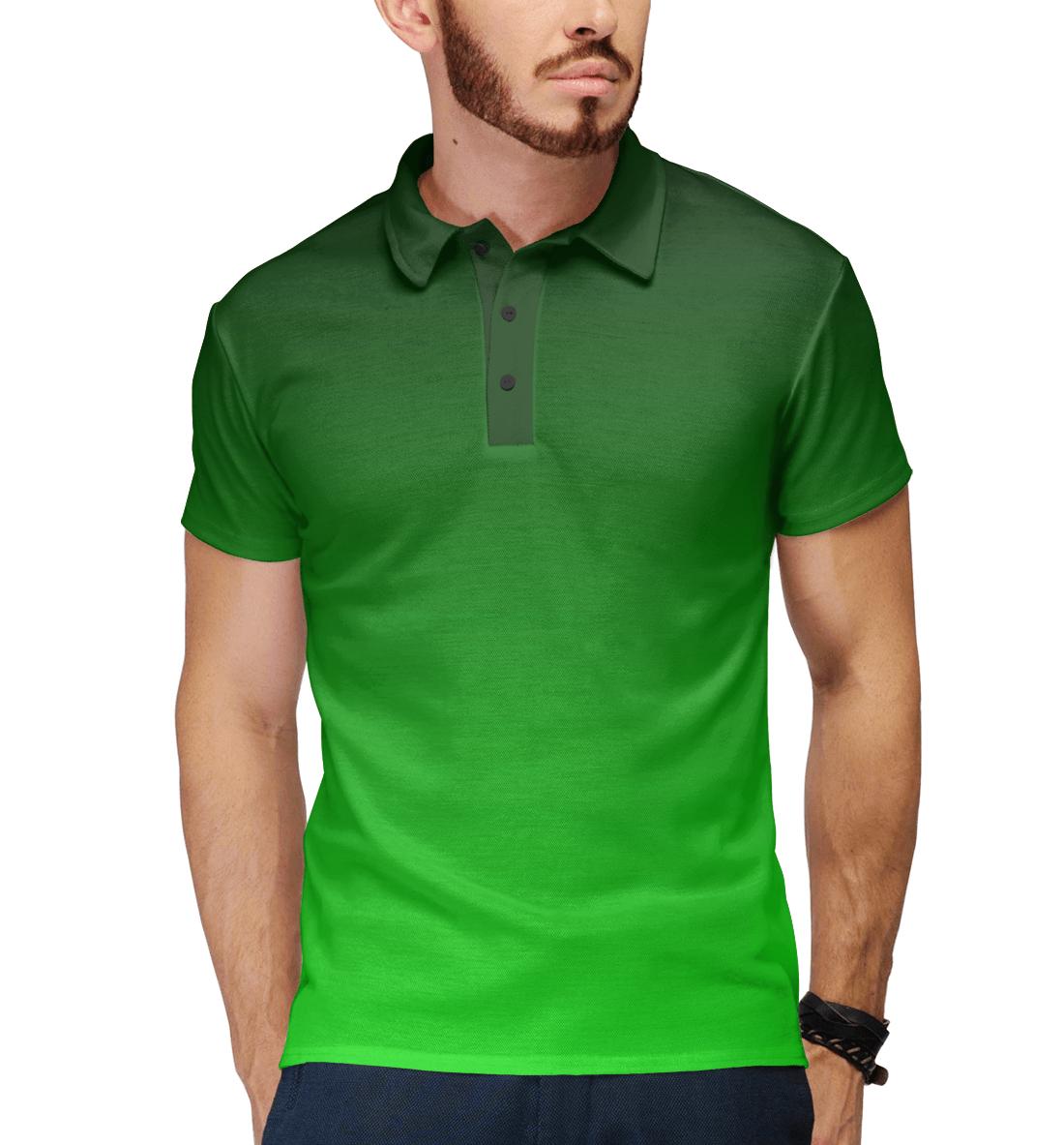 Купить Градиент Зеленый в Черный, Printbar, Поло, CLR-327769-pol-2