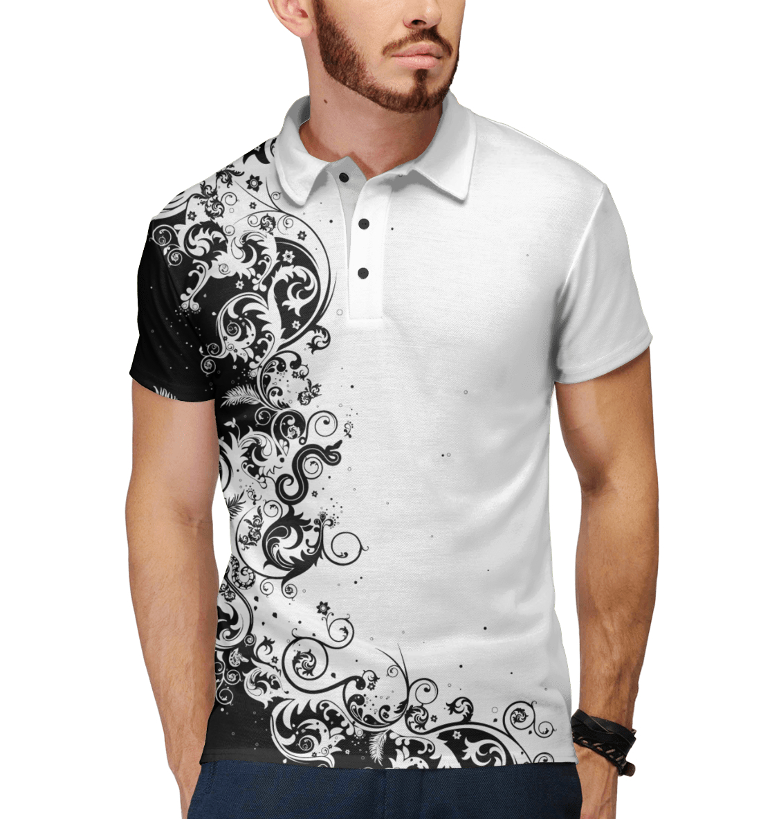 Купить White patterns, Printbar, Поло, HIP-718183-pol-2