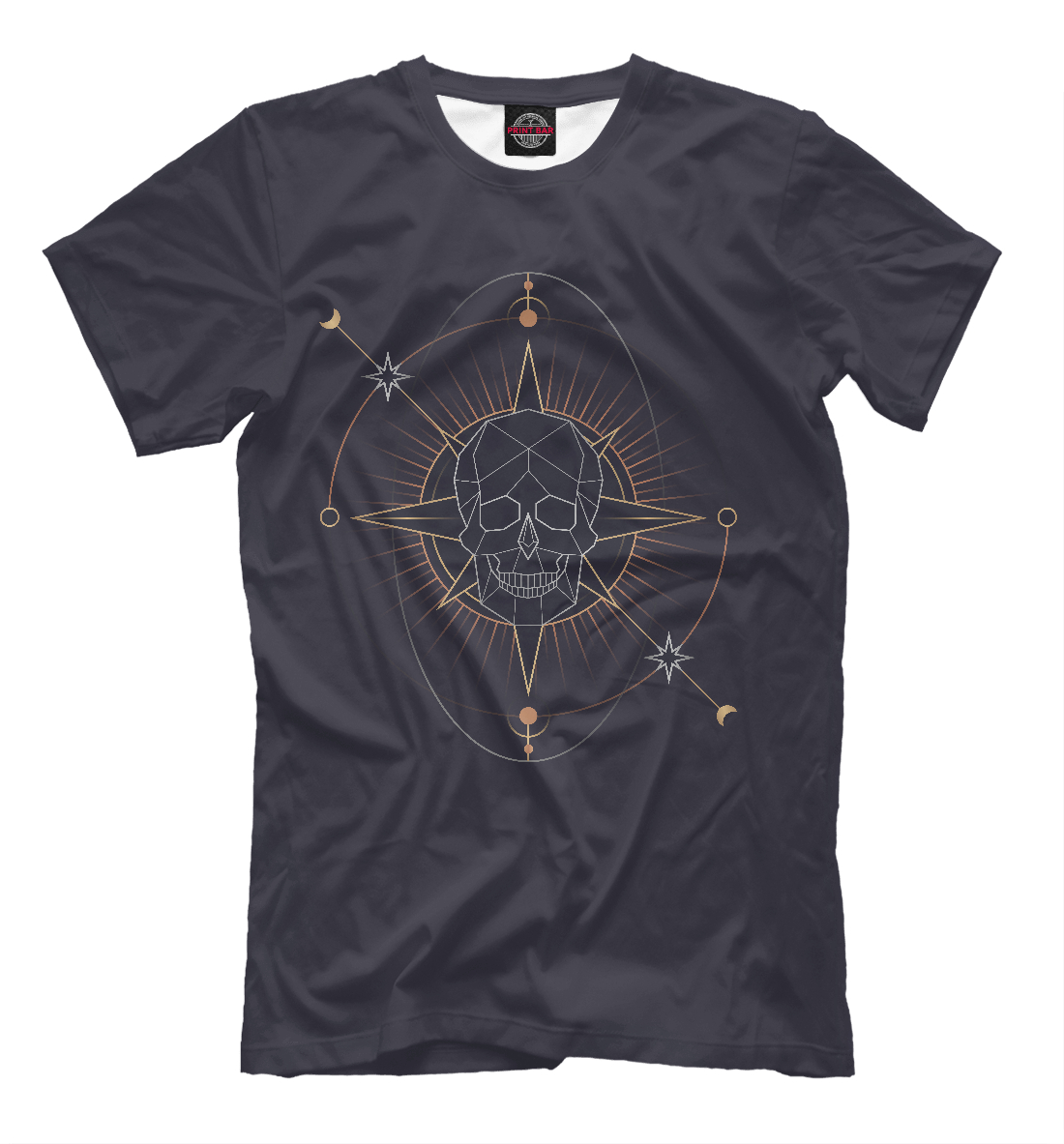 Купить Geometric astrological skull, Printbar, Футболки, HIP-579403-fut-2