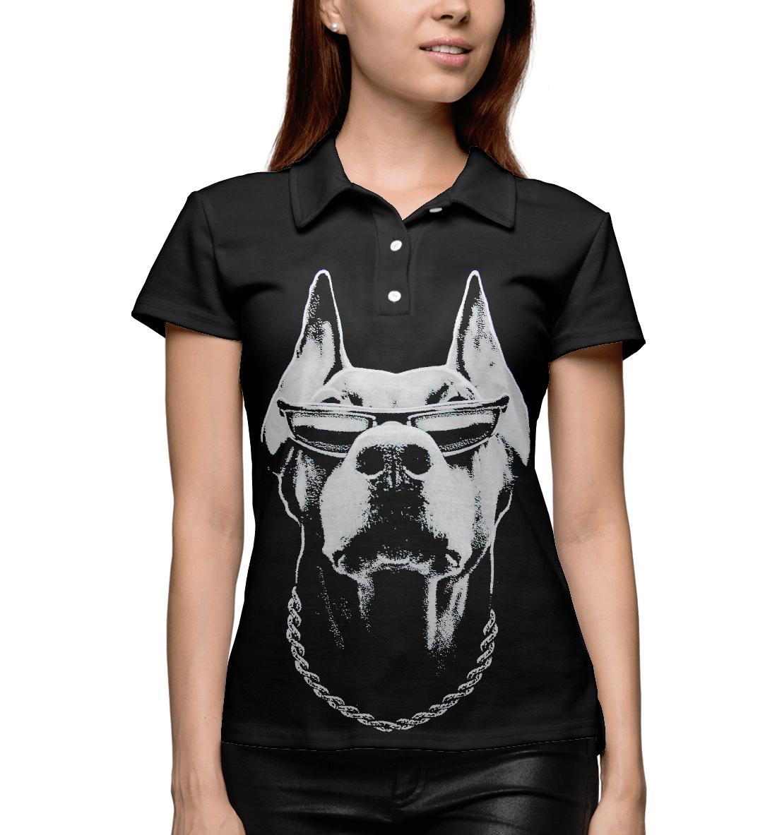 Купить Доберман в очках, Printbar, Поло, DOG-677506-pol-1