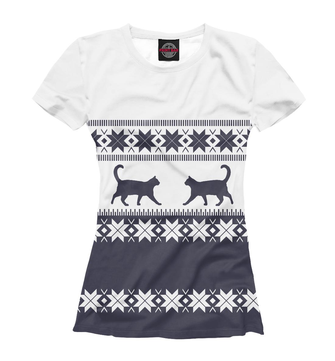 Купить Зимний свитер с котиками, Printbar, Футболки, CAT-235588-fut-1