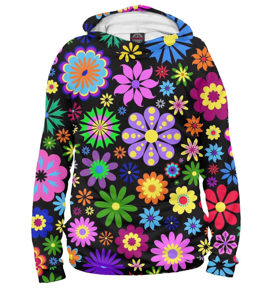 Купить Цветочки на чёрном фоне, Printbar, Худи, CVE-148701-hud-1