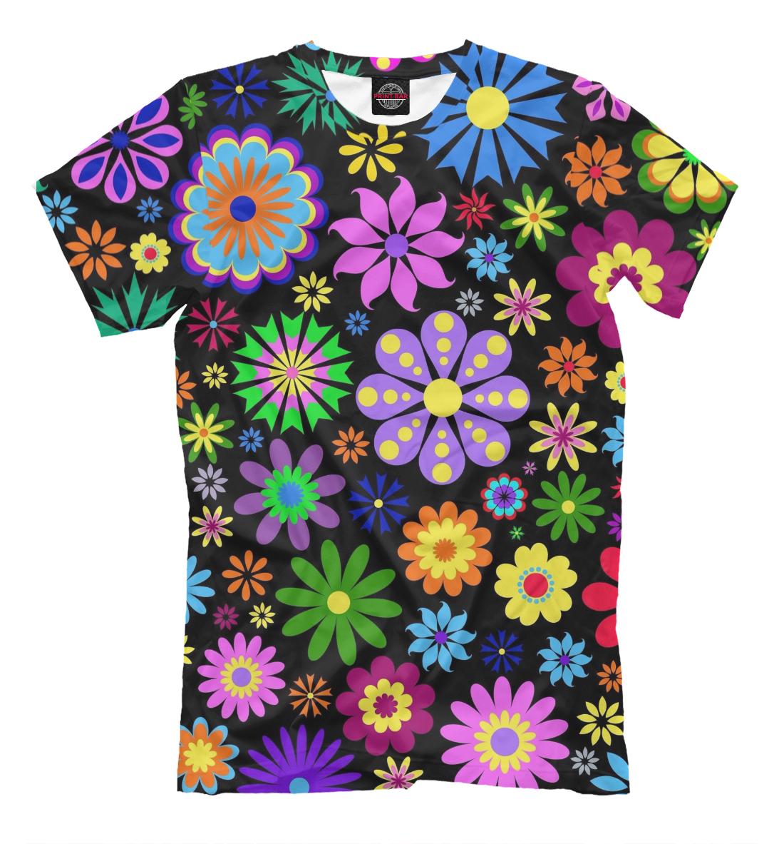 Купить Цветочки на чёрном фоне, Printbar, Футболки, CVE-148701-fut-2