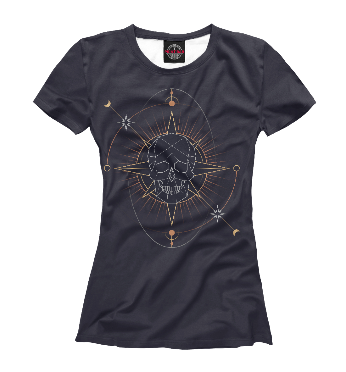 Купить Geometric astrological skull, Printbar, Футболки, HIP-579403-fut-1