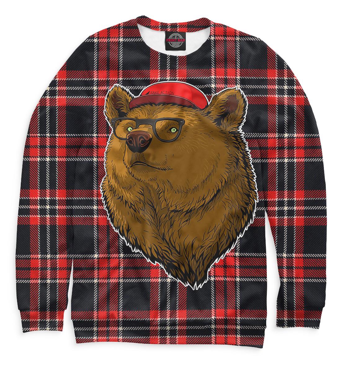 Купить Медведь в очках и бейсболке, Printbar, Свитшоты, MED-150376-swi-1