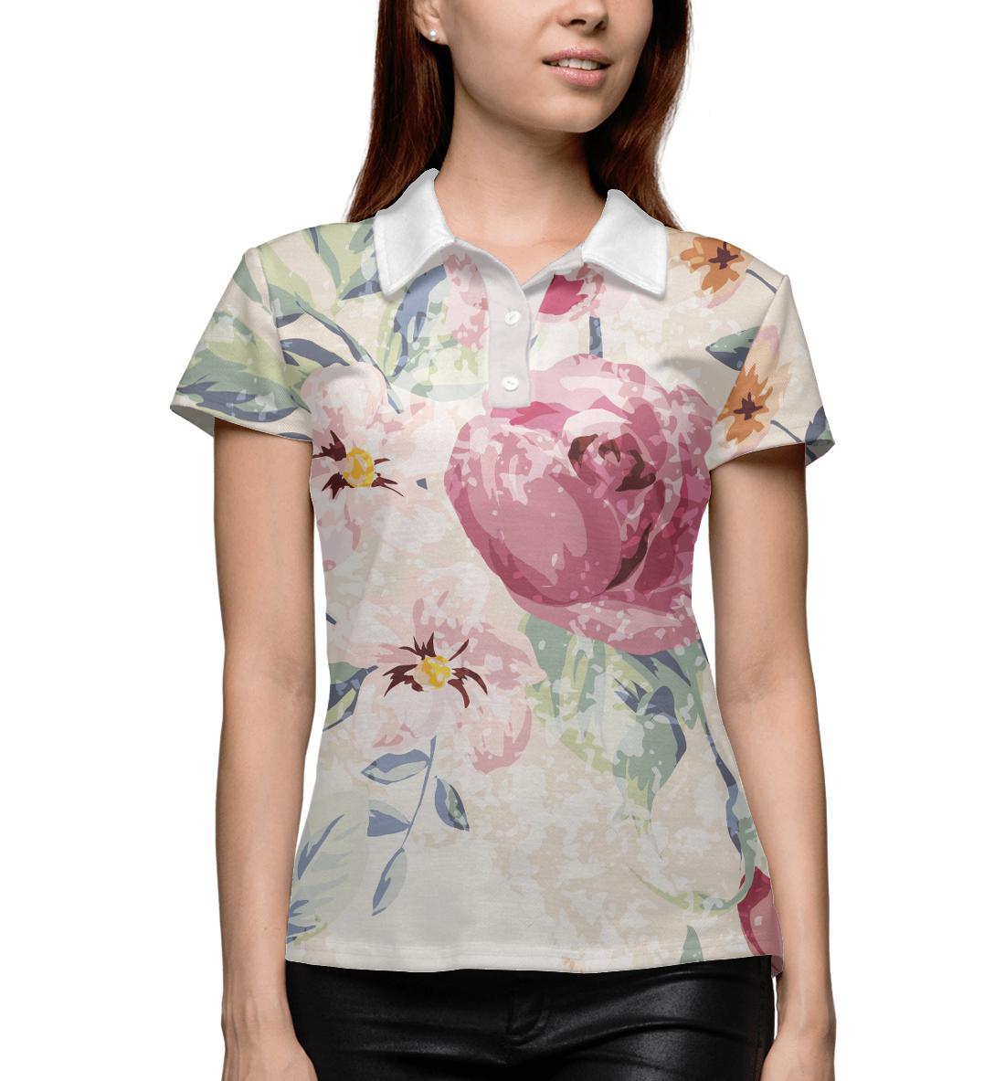 Купить Крупные цветы, Printbar, Поло, CVE-423206-pol-1