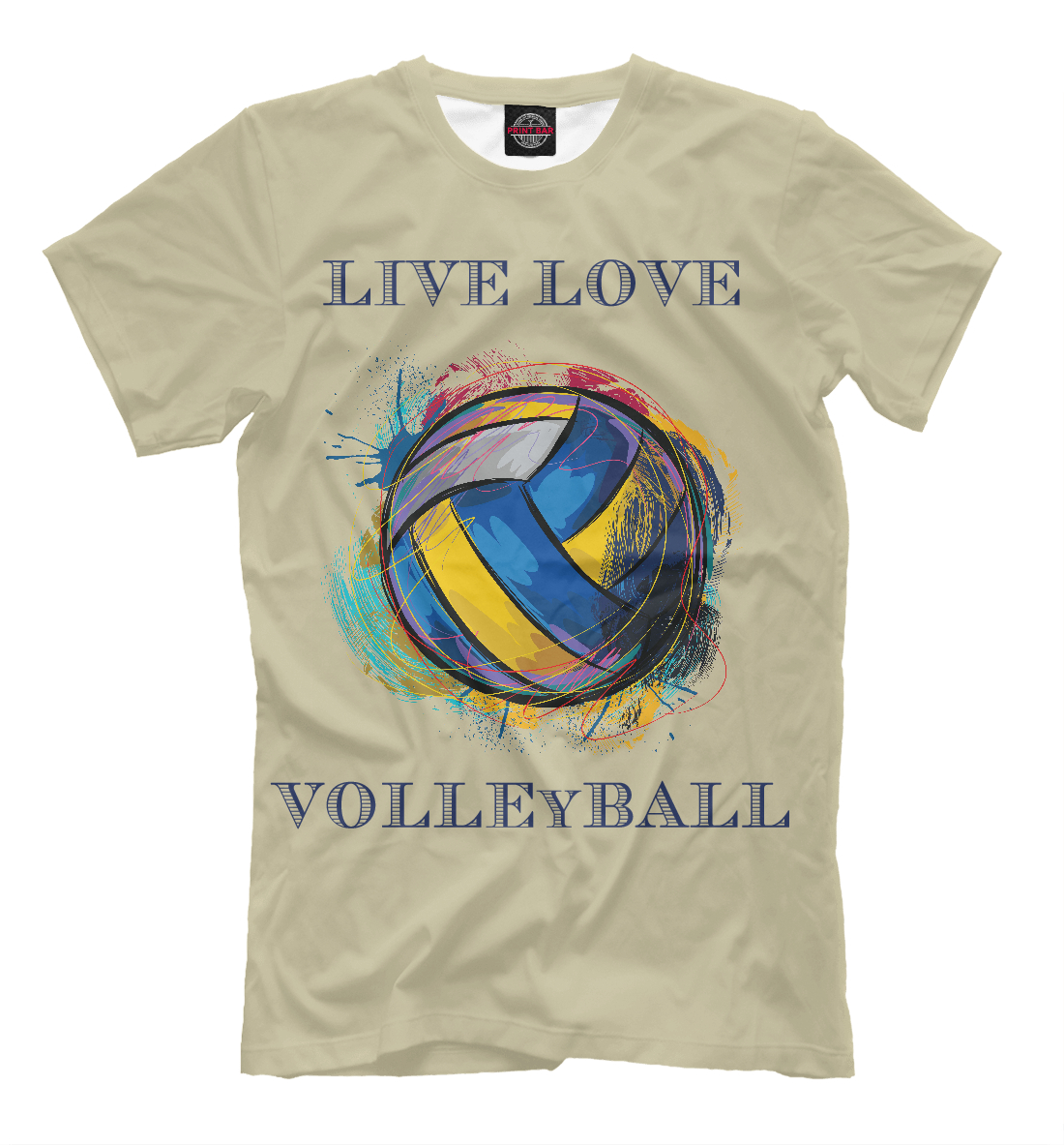 Купить LIVE LOVE VOLLEYBALL, Printbar, Футболки, VLB-972366-fut-2
