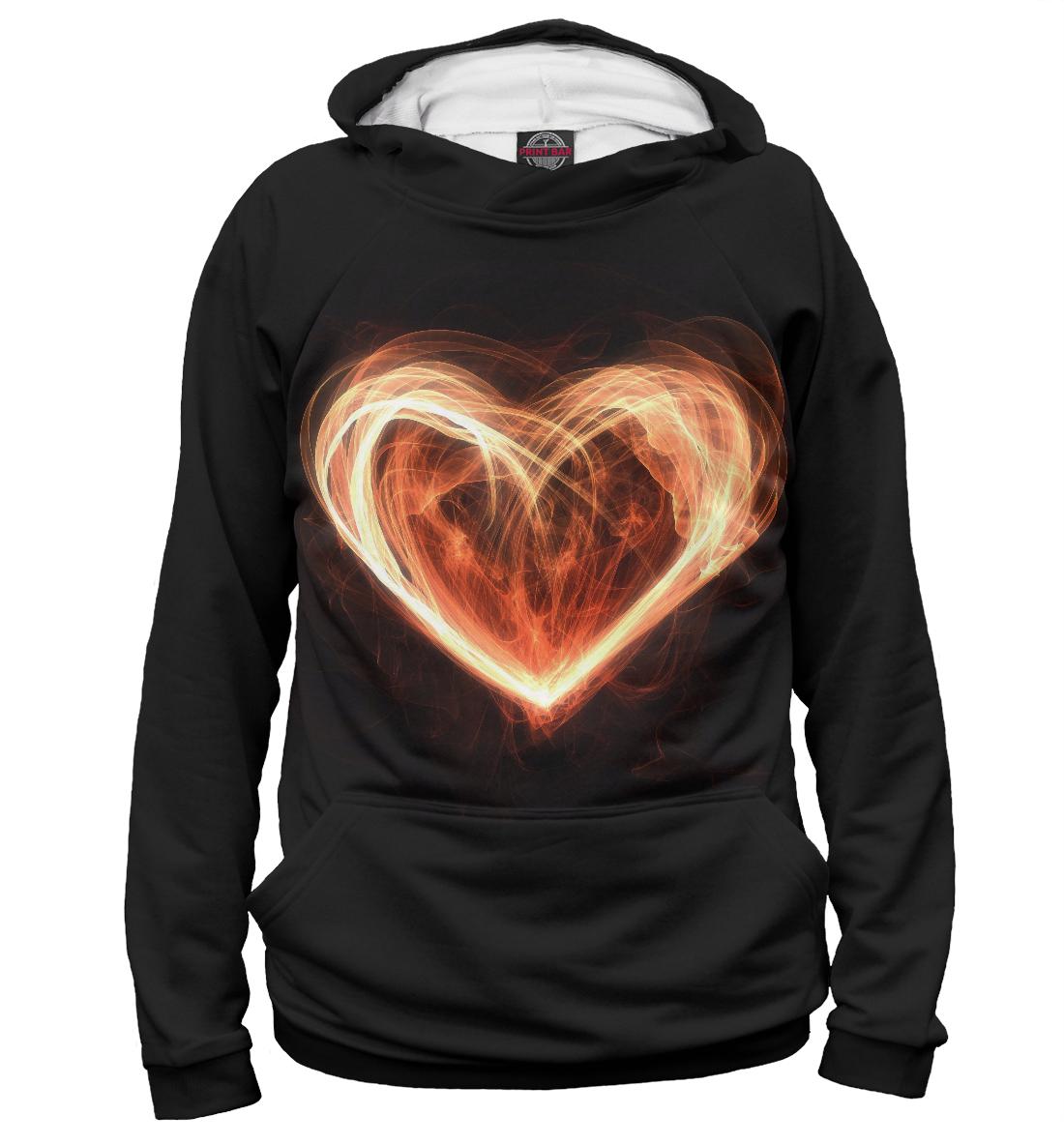 Купить Огненное сердце на чёрном фоне, Printbar, Худи, SRD-494101-hud-2