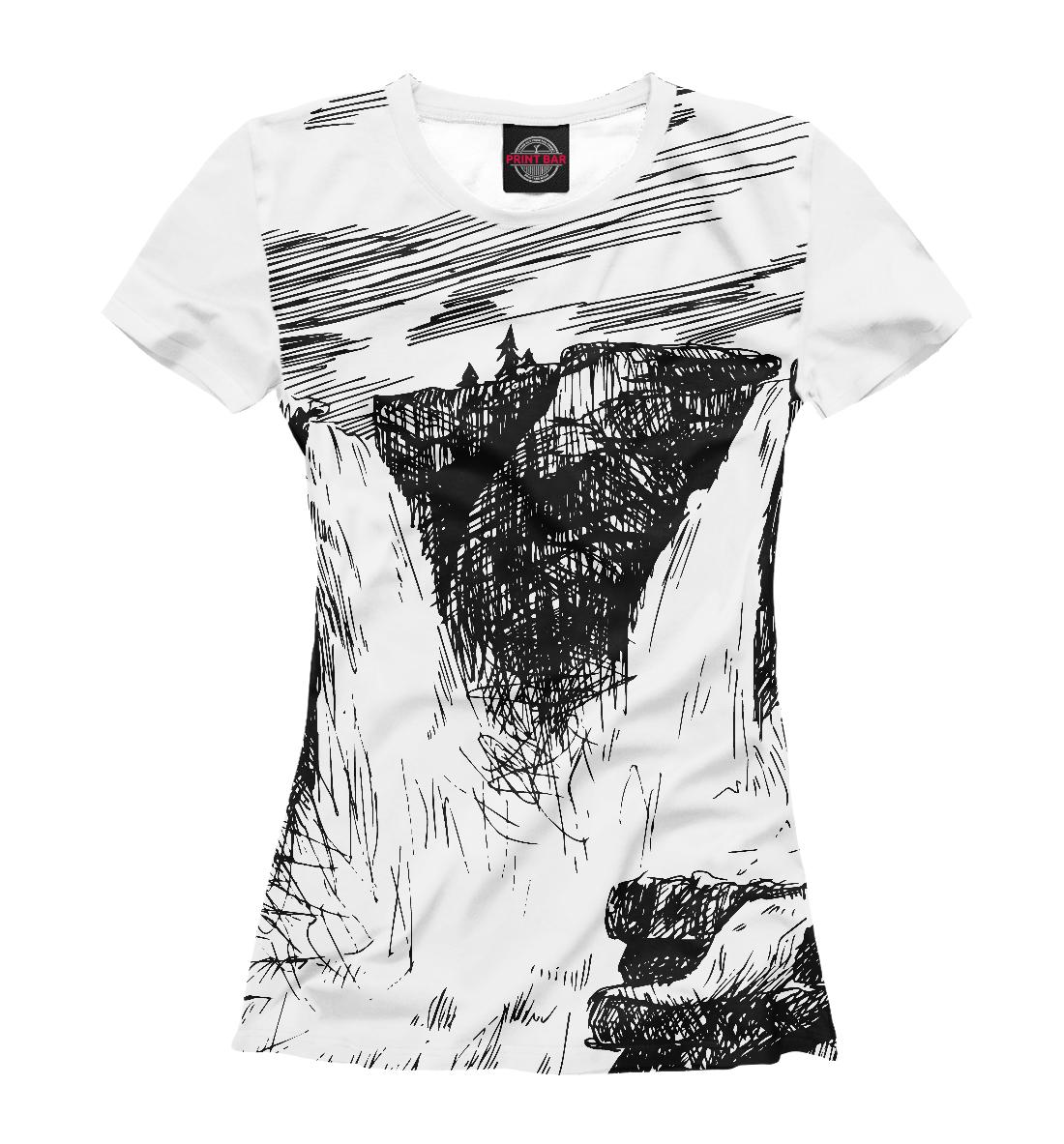 Купить Двойной водопад в горах, Printbar, Футболки, PEY-534212-fut-1