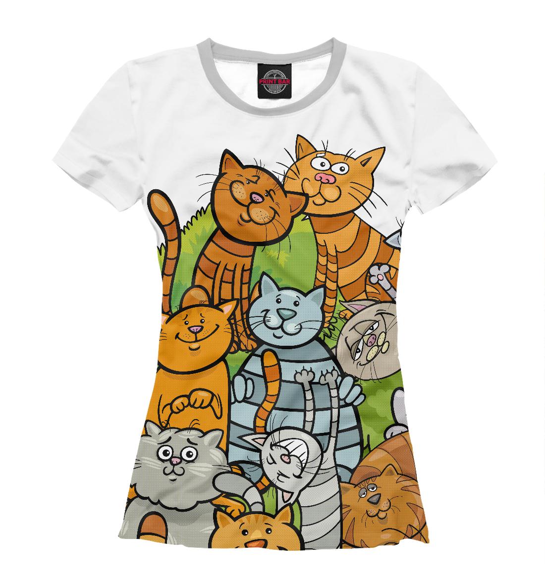 Купить Веселые коты, Printbar, Футболки, CAT-880097-fut-1