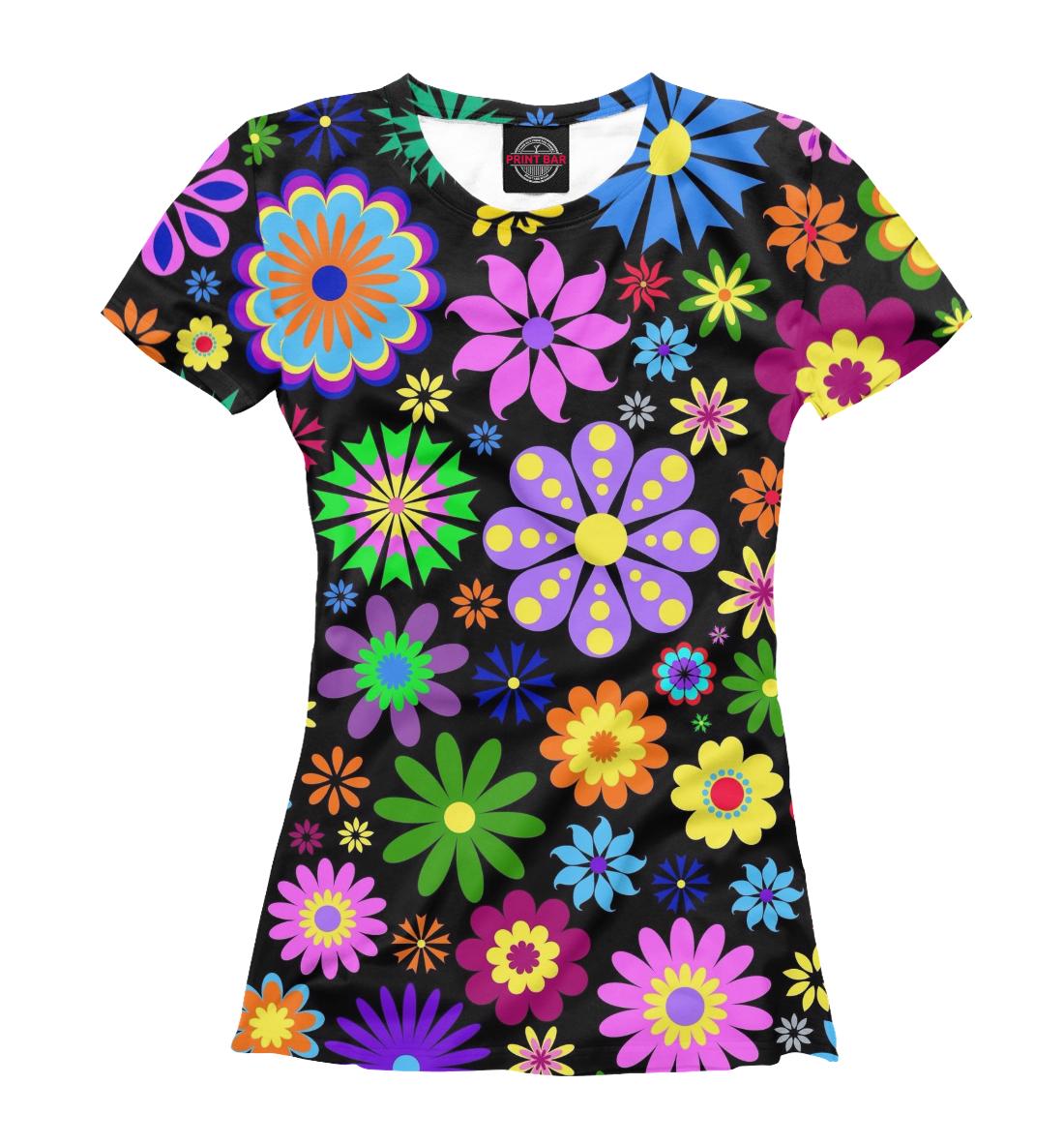 Купить Цветочки на чёрном фоне, Printbar, Футболки, CVE-148701-fut-1
