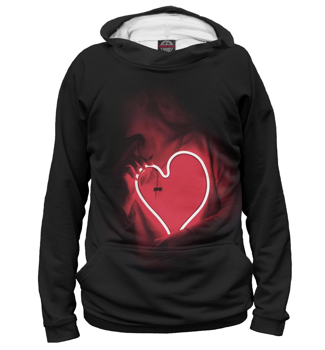 Купить Девушка с неоновым сердцем, Printbar, Худи, SRD-833167-hud-2
