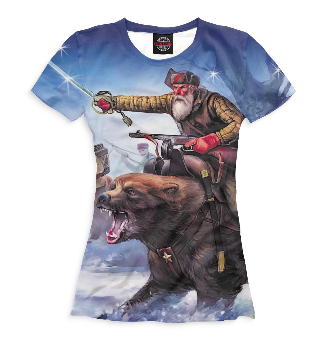 Женская футболка  Верхом на медведе