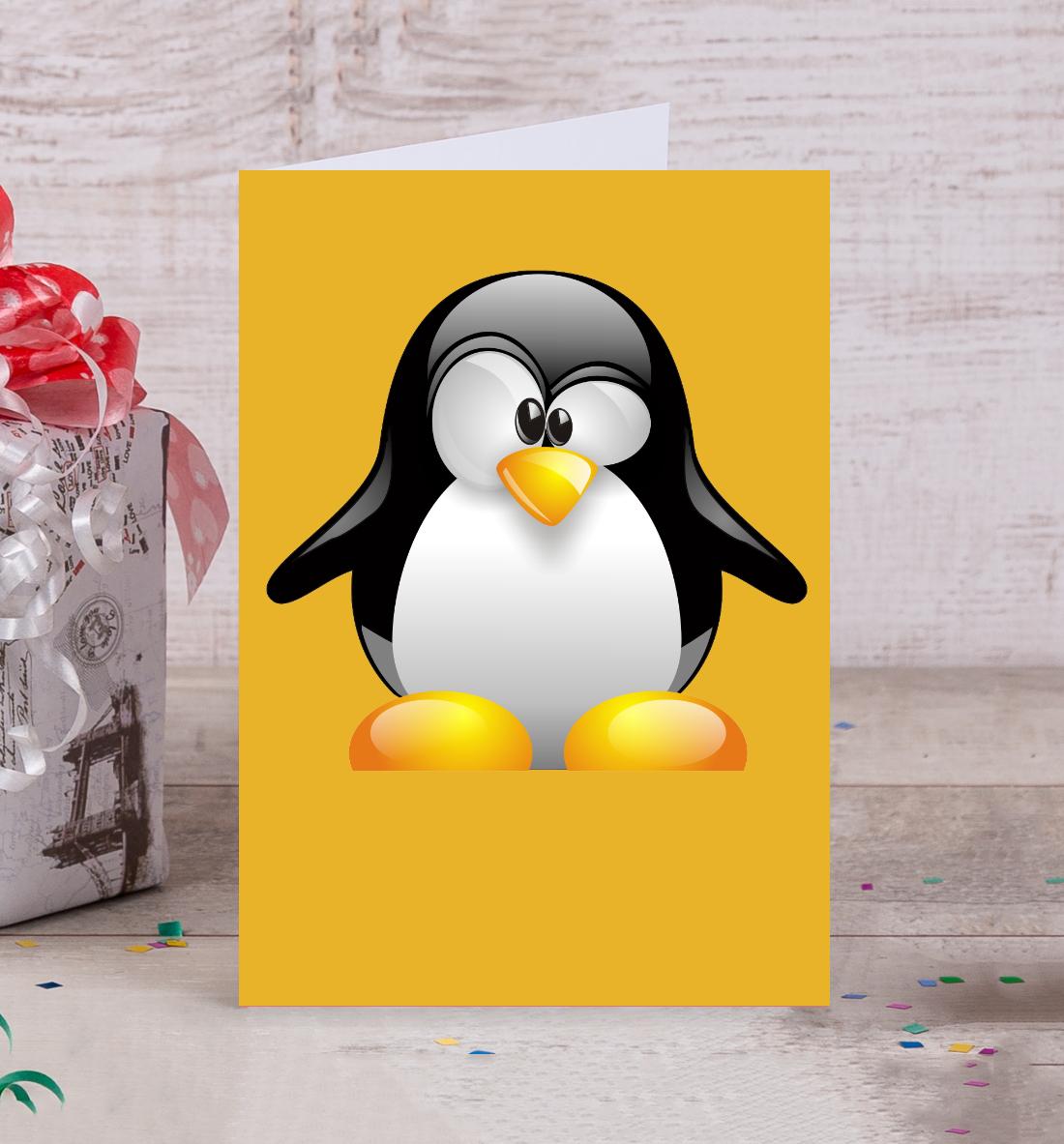 открытка пингвинчик мужскую меховую