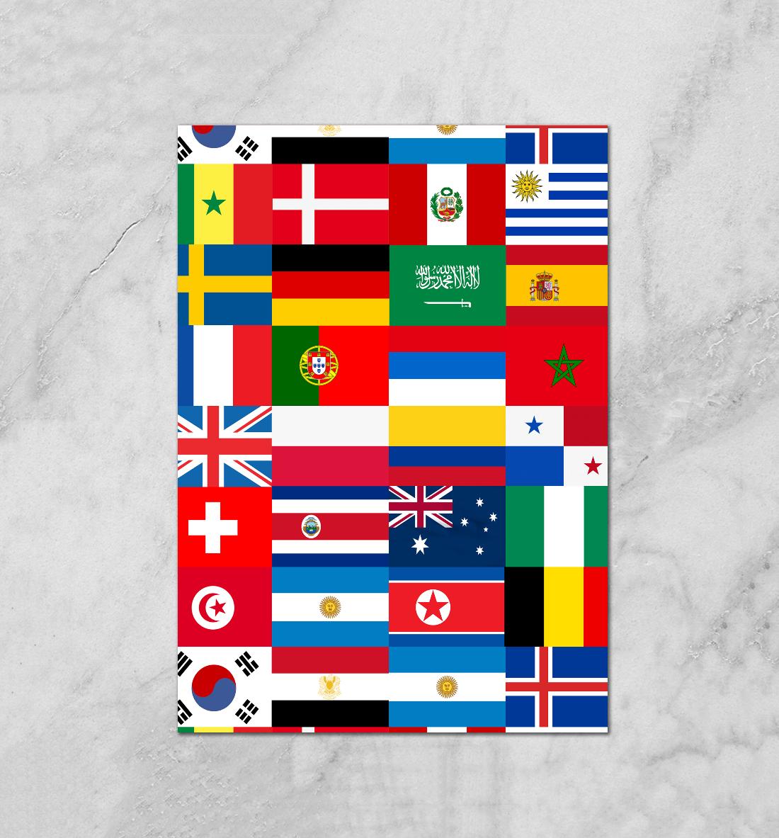 Открытка, открытки с флагами стран мира