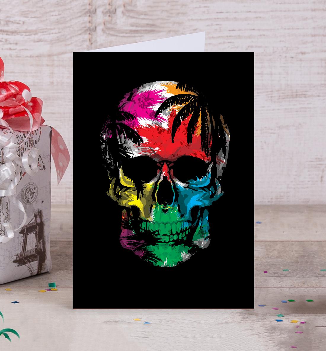 Копировать картинки, открытка с черепом