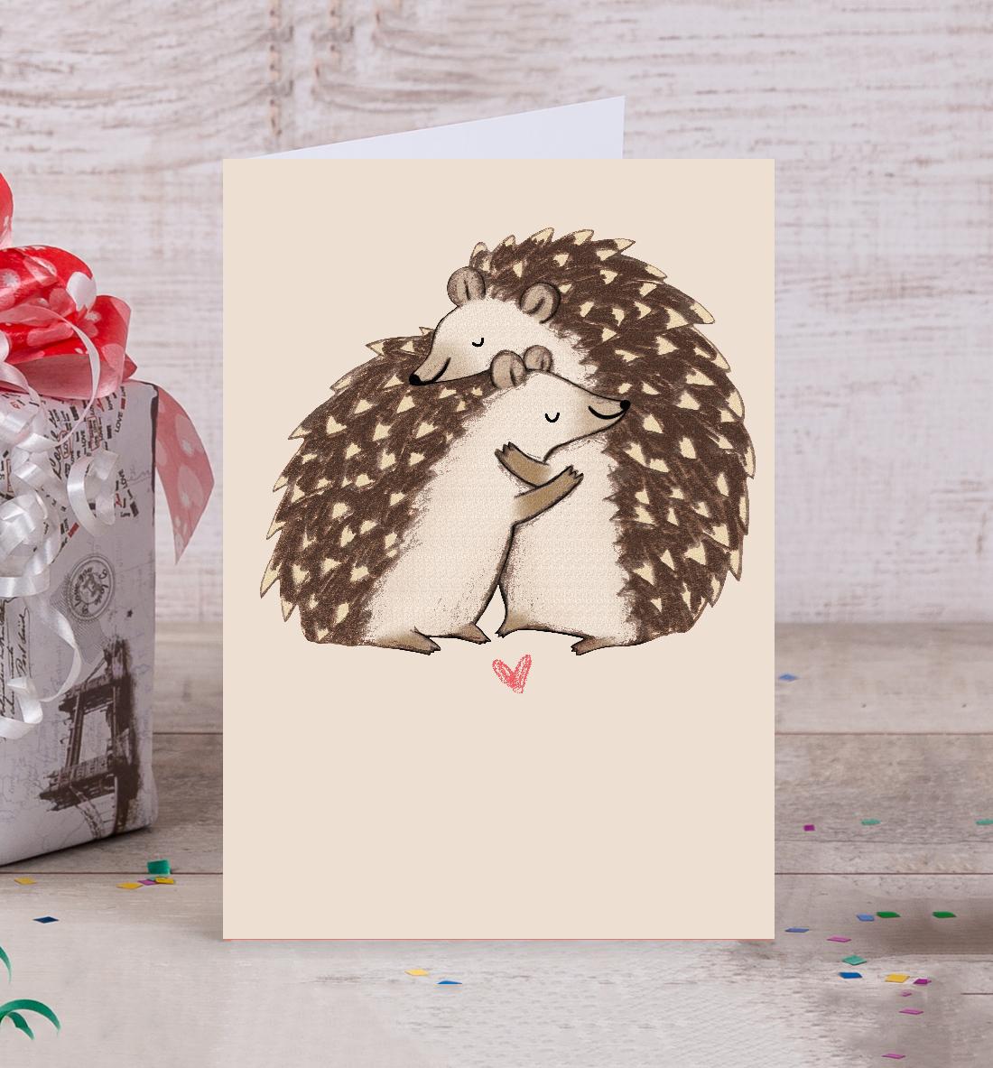 открытки с ежами своими руками фотографии